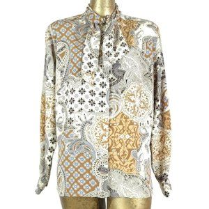 80s Mod Style Abstract Paisley Long Sleeve Blouse